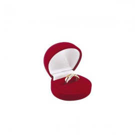 Ecrin Bague velours rouge rond